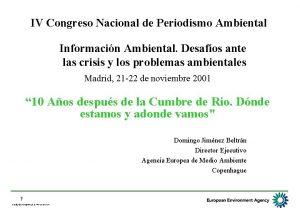 IV Congreso Nacional de Periodismo Ambiental Informacin Ambiental