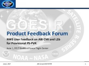 Product Feedback Forum NWS User Feedback on ABI