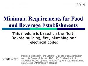 2014 Minimum Requirements for Food and Beverage Establishments