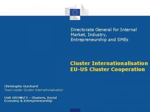 Directorate General for Internal Market Industry Entrepreneurship and