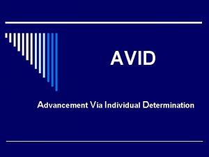 AVID Advancement Via Individual Determination What AVID is