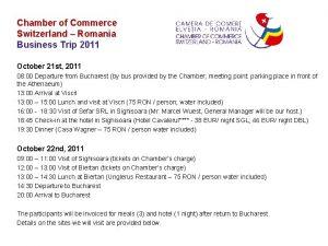 Chamber of Commerce Switzerland Romania Business Trip 2011