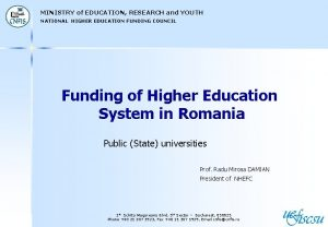 MINISTRY of EDUCATION RESEARCH and YOUTH NATIONAL HIGHER