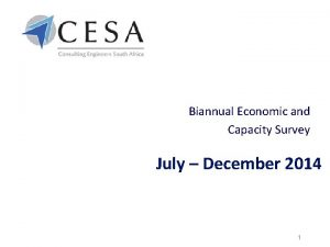 Biannual Economic and Capacity Survey July December 2014