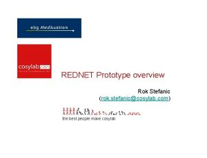 REDNET Prototype overview Rok Stefanic rok stefaniccosylab com