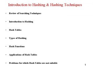 Introduction to Hashing Hashing Techniques Review of Searching