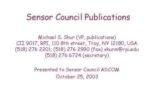 Sensor Council Publications Michael S Shur VP publications