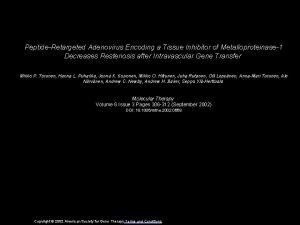 PeptideRetargeted Adenovirus Encoding a Tissue Inhibitor of Metalloproteinase1