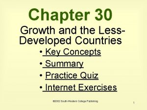 Chapter 30 Growth and the Less Developed Countries