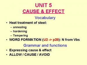 UNIT 5 CAUSE EFFECT Vocabulary Heat treatment of