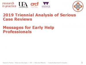 2019 Triennial Analysis of Serious Case Reviews Messages