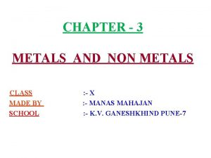 CHAPTER 3 METALS AND NON METALS CLASS MADE