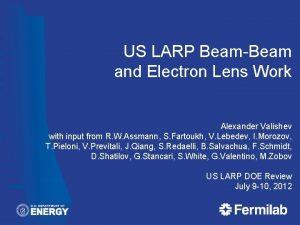 US LARP BeamBeam and Electron Lens Work Alexander