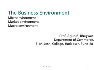The Business Environment Microenvironment Market environment Macro environment