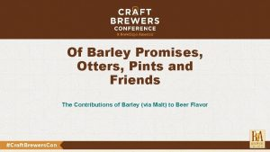 Of Barley Promises Otters Pints and Friends The