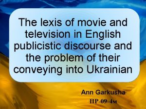 The lexis of movie and television in English