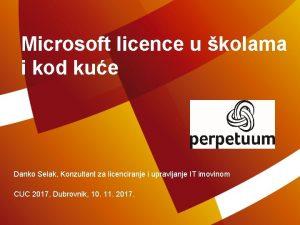 Microsoft licence u kolama i kod kue Danko