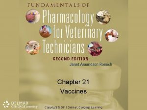 Chapter 21 Vaccines Copyright 2011 Delmar Cengage Learning