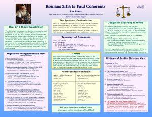 Romans 2 13 Is Paul Coherent SBL 2007