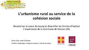 Lurbanisme rural au service de la cohsion sociale