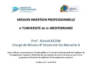 MISSION INSERTION PROFESSIONNELLE lUNIVERSITE de la MEDITERRANEE Prof