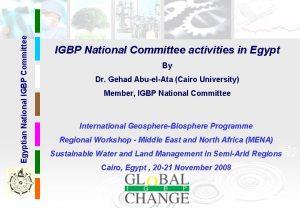 Egyptian National IGBP Committee IGBP National Committee activities