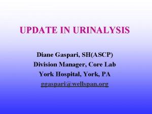 UPDATE IN URINALYSIS Diane Gaspari SHASCP Division Manager