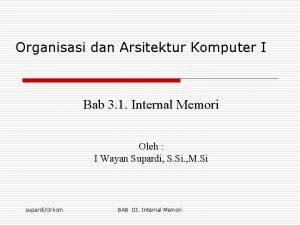 Organisasi dan Arsitektur Komputer I Bab 3 1