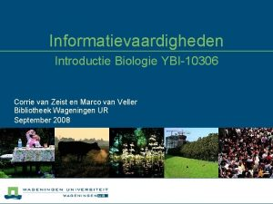 Informatievaardigheden Introductie Biologie YBI10306 Corrie van Zeist en