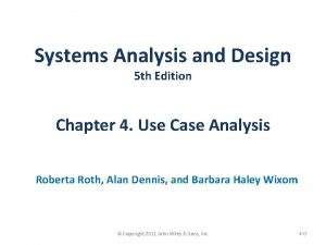 Systems Analysis and Design 5 th Edition Chapter