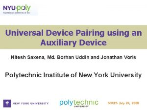 Universal Device Pairing using an Auxiliary Device Nitesh