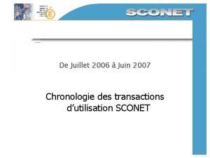 De Juillet 2006 Juin 2007 Chronologie des transactions