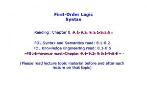 FirstOrder Logic Syntax Reading Chapter 8 9 1