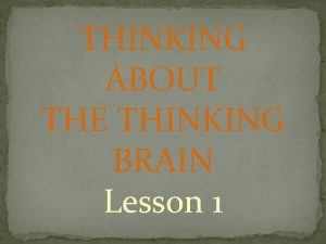 THINKING ABOUT THE THINKING BRAIN Lesson 1 INTRODUCTION