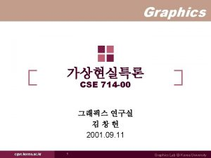 Graphics CSE 714 00 2001 09 11 cgvr
