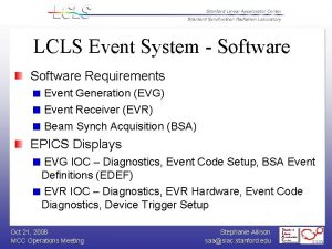 LCLS Event System Software Requirements Event Generation EVG