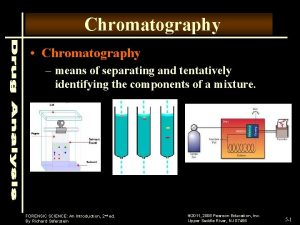 Chromatography Chromatography means of separating and tentatively identifying