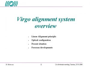 Virgo alignment system overview Linear Alignment principle Optical