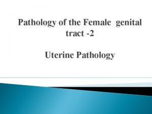 Pathology of the Female genital tract 2 Uterine