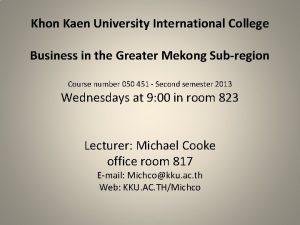 Khon Kaen University International College Business in the