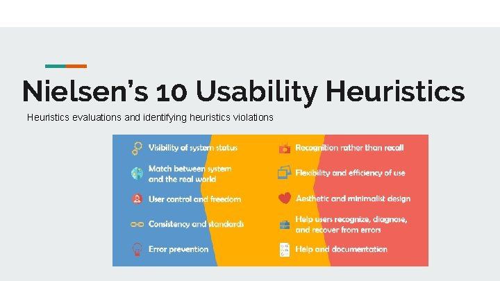 Nielsens 10 Usability Heuristics evaluations and identifying heuristics