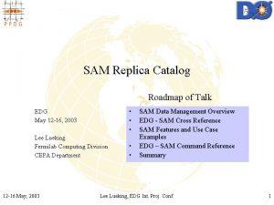 SAM Replica Catalog Roadmap of Talk EDG May