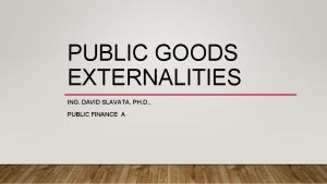 PUBLIC GOODS EXTERNALITIES ING DAVID SLAVATA PH D