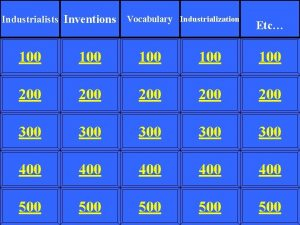 Industrialists Inventions Vocabulary Industrialization Etc 100 100 100