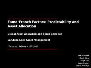 FamaFrench Factors Predictability and Asset Allocation Global Asset