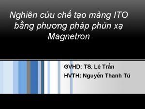 Nghin cu ch to mng ITO bng phng