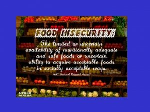 US FOOD SECURITY SCALE 18 Item Scale Includes