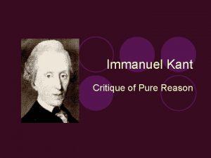 Immanuel Kant Critique of Pure Reason Historical Context