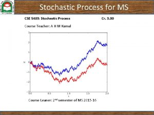 Stochastic Process for MS CSE 5403 Stochastic Process