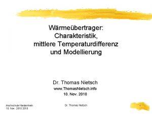 Wrmebertrager Charakteristik mittlere Temperaturdifferenz und Modellierung Dr Thomas